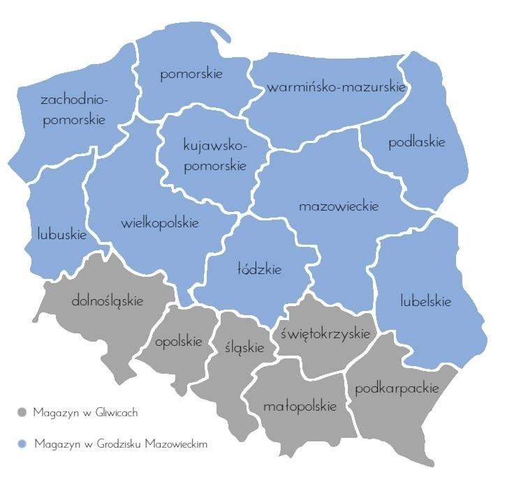 Mapa magazynów Saint-Gobain PAM