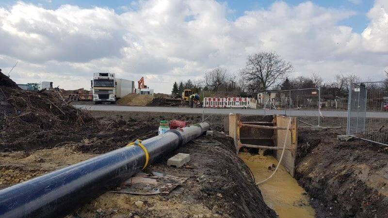 Przewiert HDD rurami TT PE DIREXIONAL Saint-Gobain PAM w Gliwicach -12-03-2019