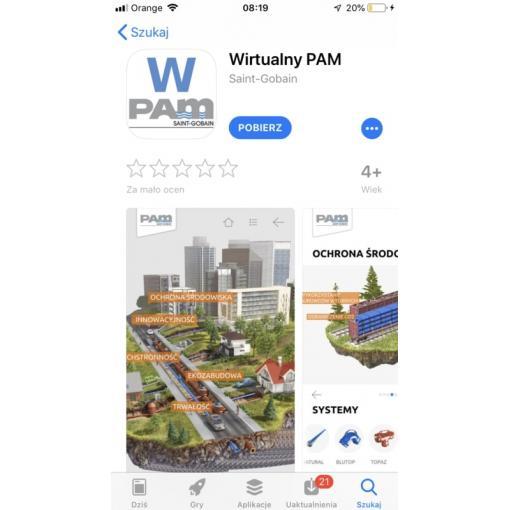 Ekran startowy aplikacji Wirtualny PAM