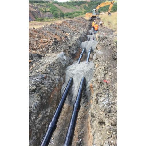 System rur i kształtek do wody z żeliwa sferoidalnego – Transport wody kopalnianej z dwóch starych kopalń fluorytu do oczyszczalni, Francja