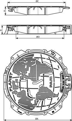 Właz PLANET wentylowany z żeliwa sferoidalnego Saint-Gobain PAM